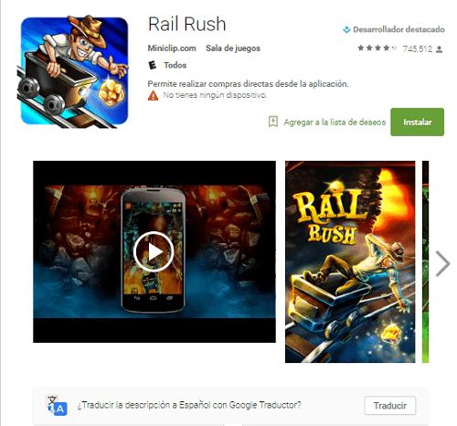 Rail Rush, la alternativa al Subway Surfers