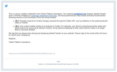 Email de Twitter a PostGhost