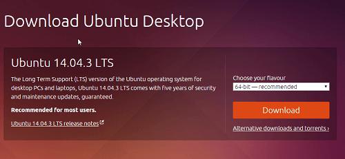 Es mejor que descargue la versión 14.04.03 LTS de este Ubuntu