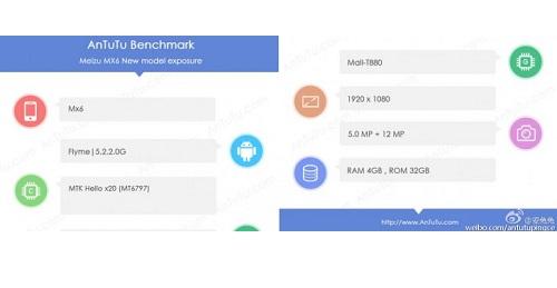 Especificaciones del benchmark del Meizu MX6 en AnTuTu