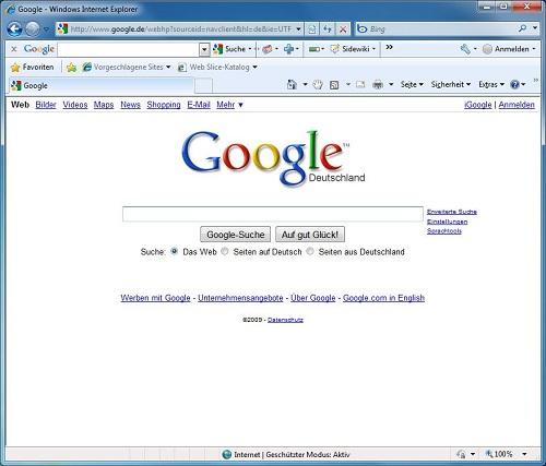 Explorer 8 con Google abierto