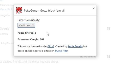 Filtro de sensibilidad de PokeGone