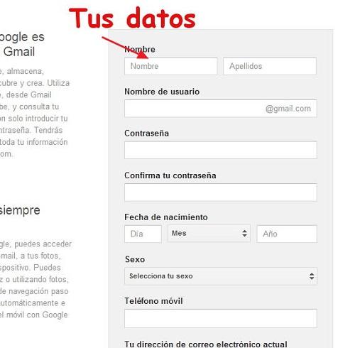 Formulario Gmail