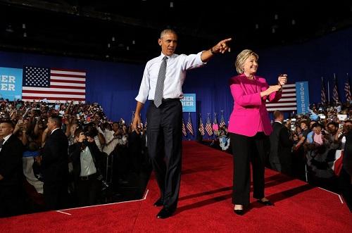 Hillary Clinton y el actual presidente Obama