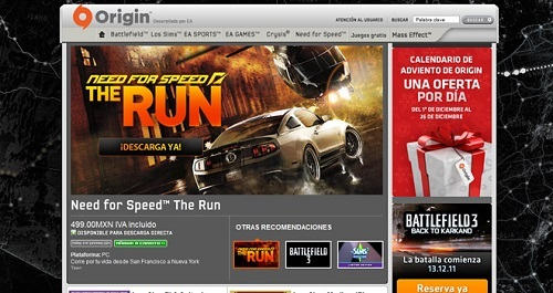 Juego de Need for Speed en Origin
