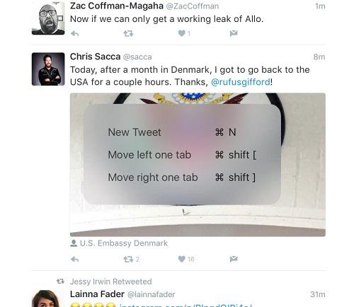 Actualización de Twitter para iOS trae compatibilidad para atajos de teclado en iPad