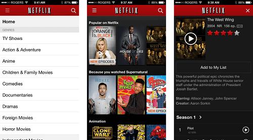 Aplicación de Netflix para iOS