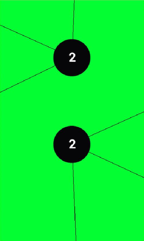El objetivo de rr será insertar lineas en los circulos