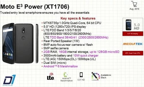 Especificaciones del Moto E3 Power