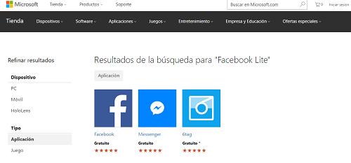 Falta de la aplicación en la Microsoft Store