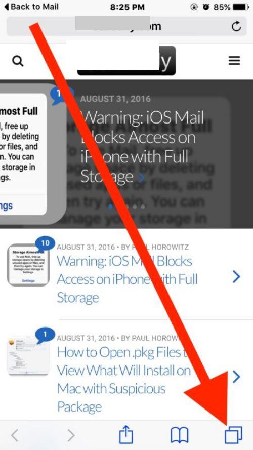 1.Desde Safari para iPhone, entre a una pestaña nueva
