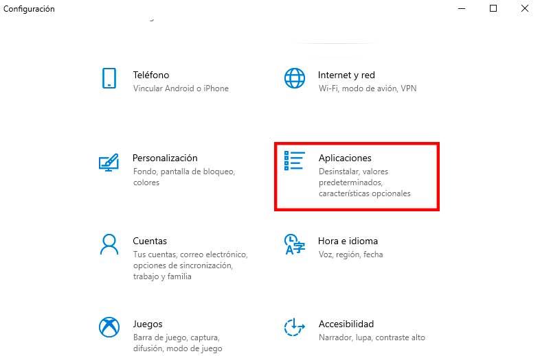 Desinstalar aplicaciones de Microsoft Store a través de la configuración