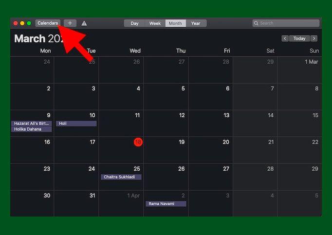 Haz clic en el botón Calendario