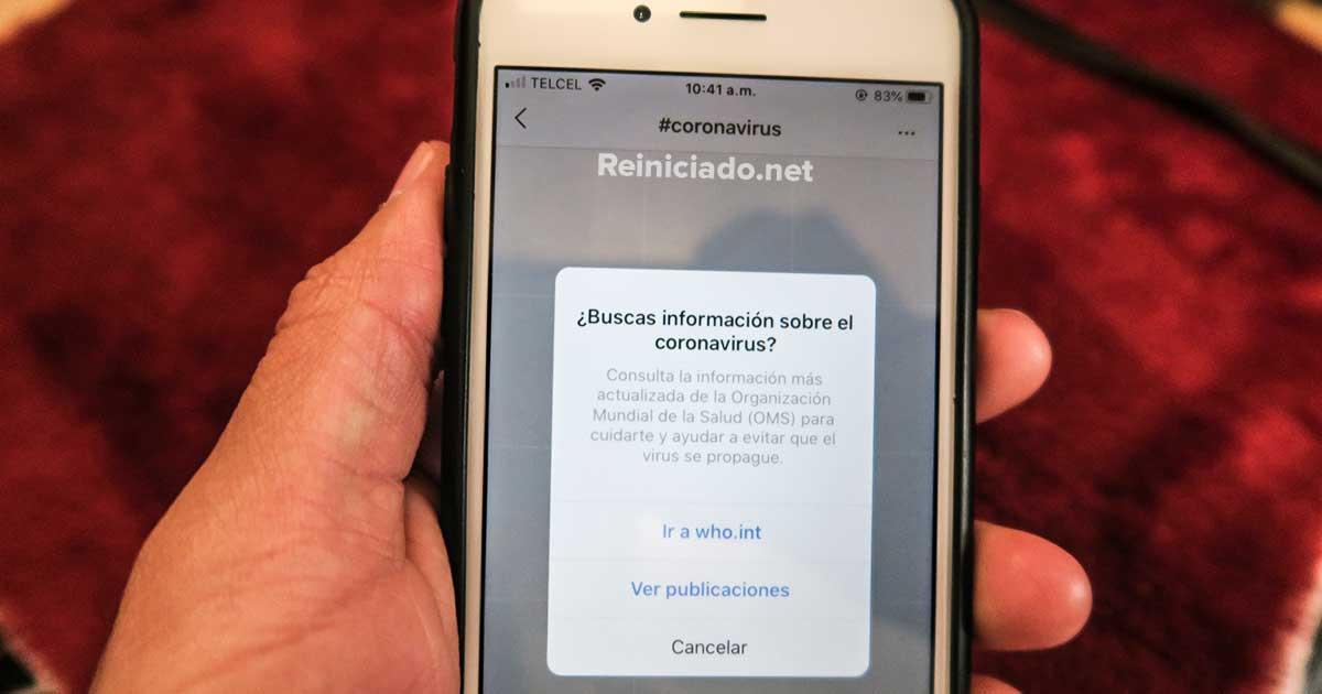 Instagram brinda a los usuarios fuentes creíbles sobre el Coronavirus covid-19