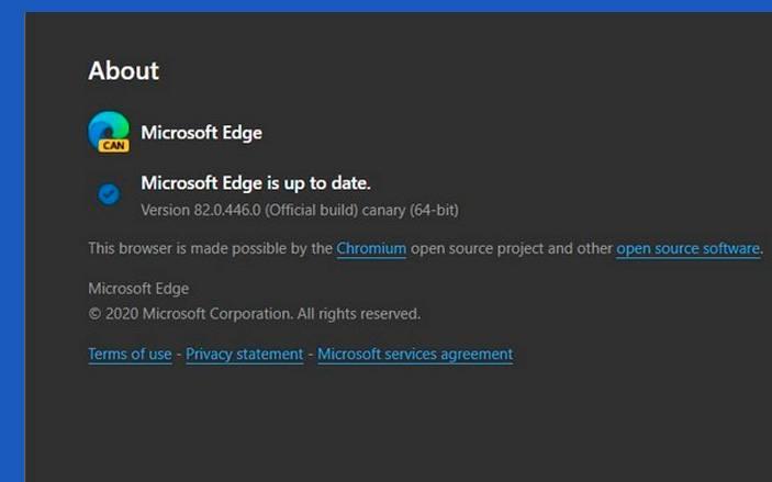 Microsoft Edge version 82.0.446.0 2020