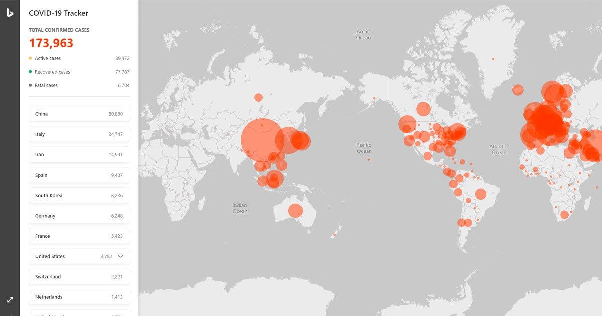 Microsoft lanza mapa interactivo para seguir el avance del Coronavirus