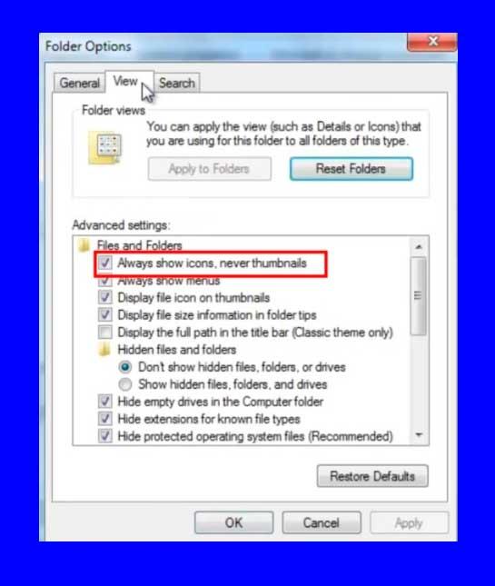 Mostrar siempre iconos, nunca miniaturas windows 7