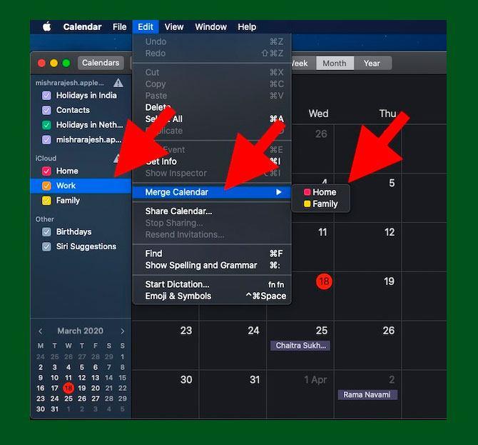 Usar el menú Editar para combinar calendario en mac