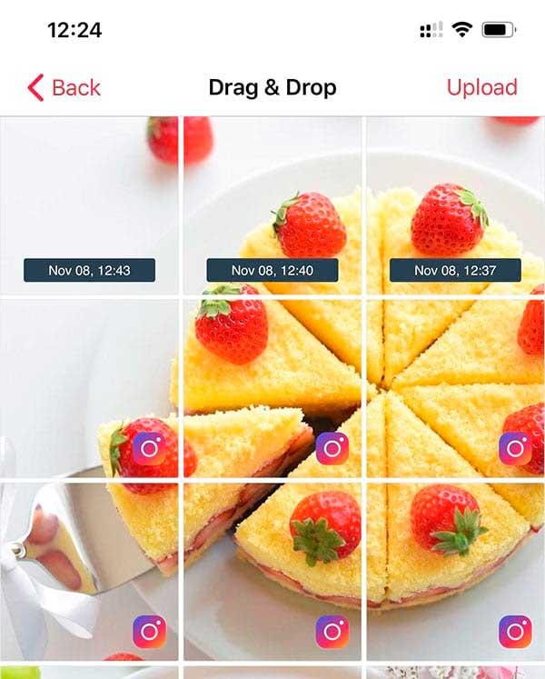 arrastrar y soltar drag and drop apphi instagram