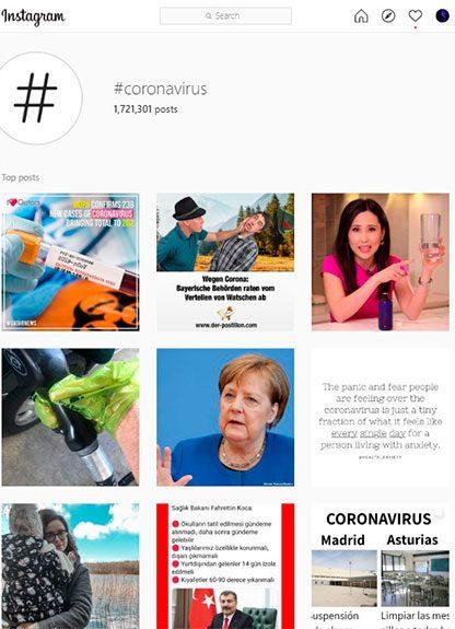 instagram hashtag coronavirus