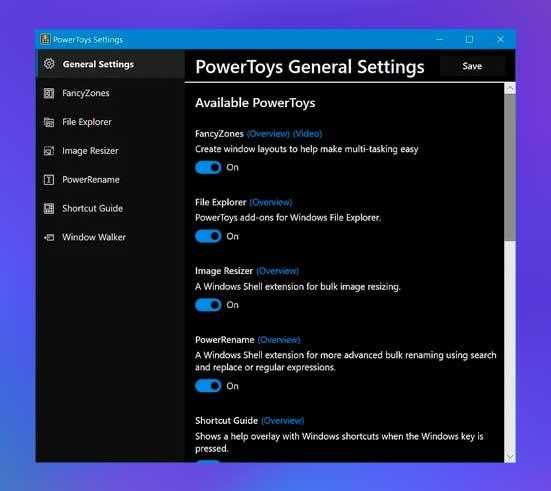 Configuración general de Powertoys