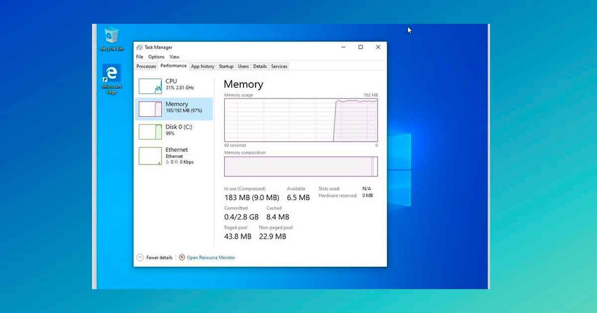 El experimento de un usuario de Twitter muestra que Windows 10 se ejecuta en una máquina de 192 MB de RAM