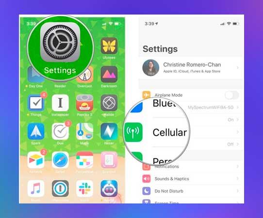 configuración en el iphone