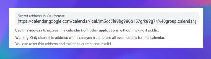 dirección secreta en formato iCal