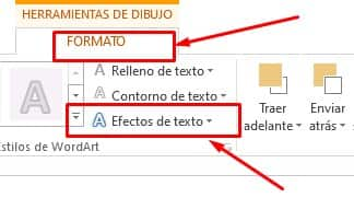 formato efectos de texto