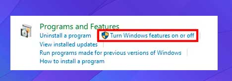 Activar o desactivar las características de Windows
