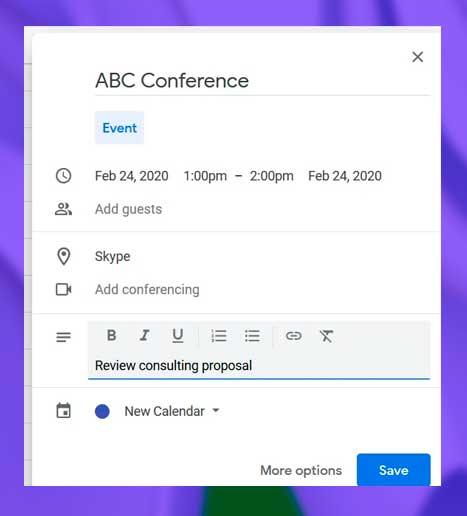 Completar los detalles de su evento