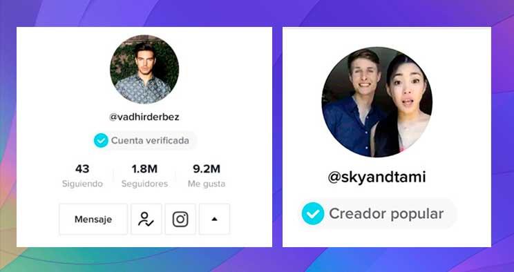 Diferencia entre un creador popular de TikTok y una cuenta verificada