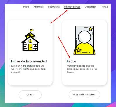 En Snapchat web ve a Filtros y lentes