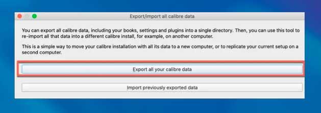 Exportar todos sus datos de calibre