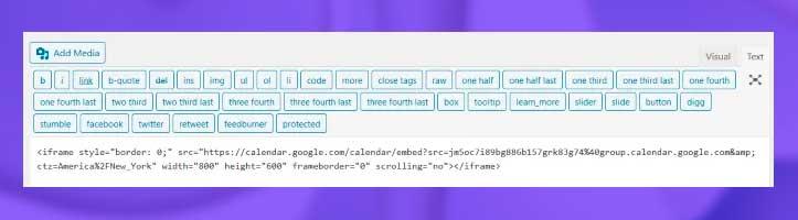 Incruste el código en la sección HTML de una página web