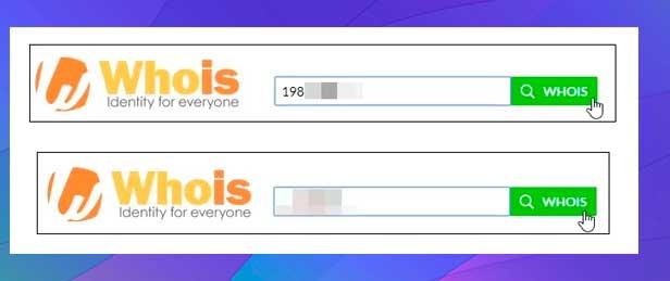 Ingrese la dirección IP o el nombre de dominio whois