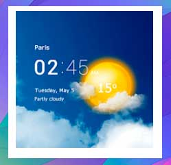 Reloj transparente, Clima, Pronóstico y Radar