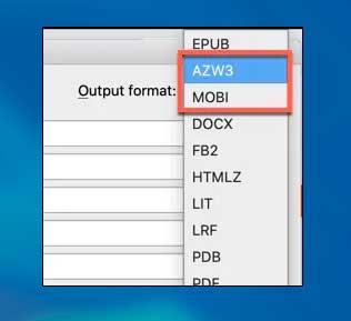Seleccione AZW3 o MOBI para convertir a un formato compatible con Kindle.