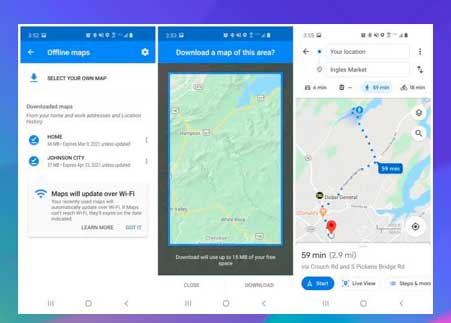 Seleccione mapas sin conexión en el menú