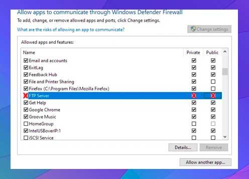 clic en Cambiar configuración , busque el servidor FTP