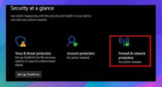 clic en Firewall y protección de red