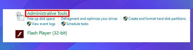 clic en Herramientas administrativas