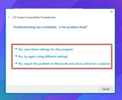 clic en No, intente nuevamente con diferentes configuraciones