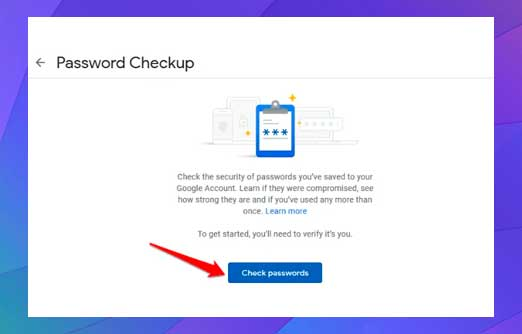 clic en el botón azul Comprobar contraseña