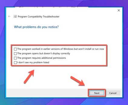 clic en una de las casillas de verificación proporcionadas, luego seleccione Siguiente