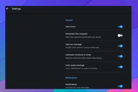 configuración de vista previa o notificación de mensajes