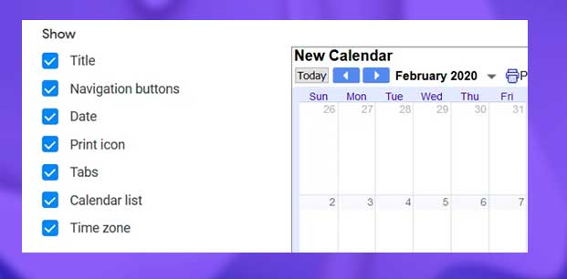 elementos a mostrar google calendar