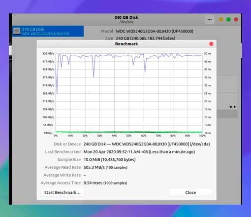 evaluación comparativa de la velocidad de datos del disco duro en bloques defectuosos de Linux