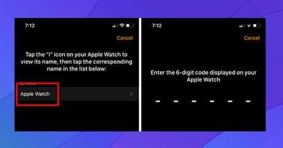 ingrese el código de seis dígitos que aparece en su Apple Watch