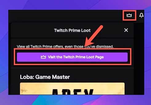página de botín de Twitch Prime